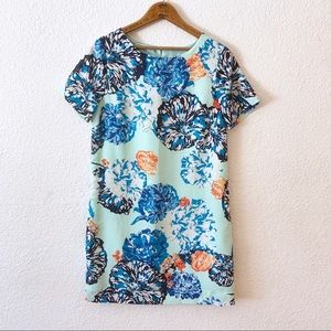 J Crew Short Sleeve Dress Floral Print Shift Aqua